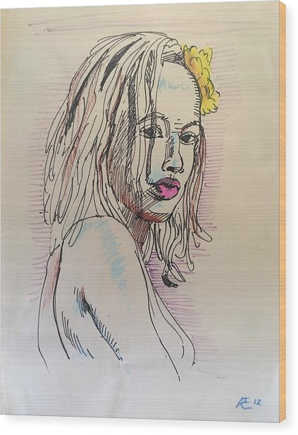 Woman With Yellow Flower Wood Print by Alejandro Lopez-Tasso