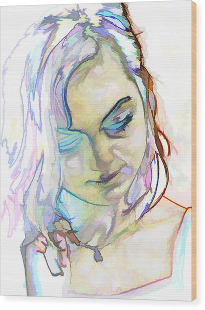 Women Body - Color Face1 Wood Print by Robert Litewka