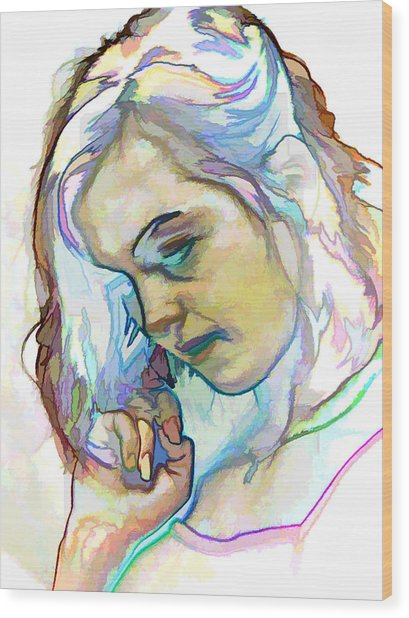 Women Body - Color Face2 Wood Print by Robert Litewka