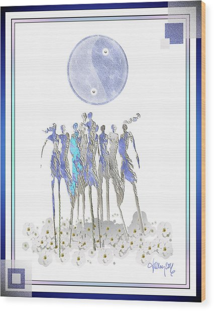 Women Chanting - Full Moon Flower Song Wood Print