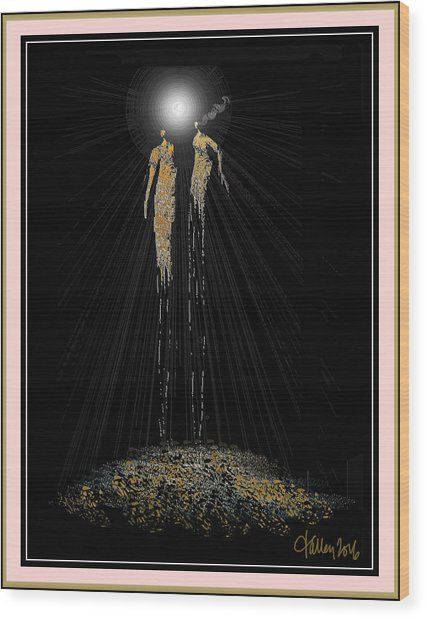 Women Chanting - Full Moon On The Mountain Wood Print