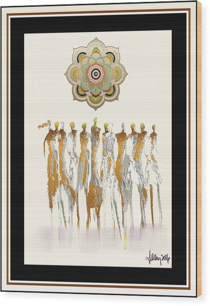 Women Chanting Mandala Wood Print