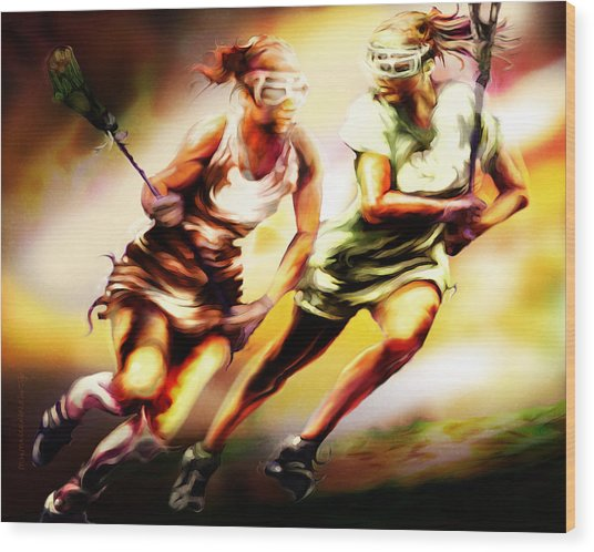 Women In Sports - Lacrosse Wood Print