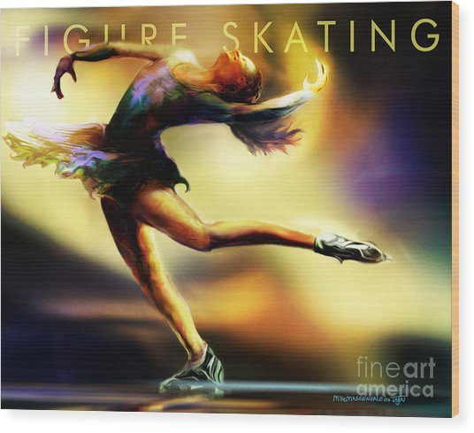 Women In Sports - Figure Skating Wood Print