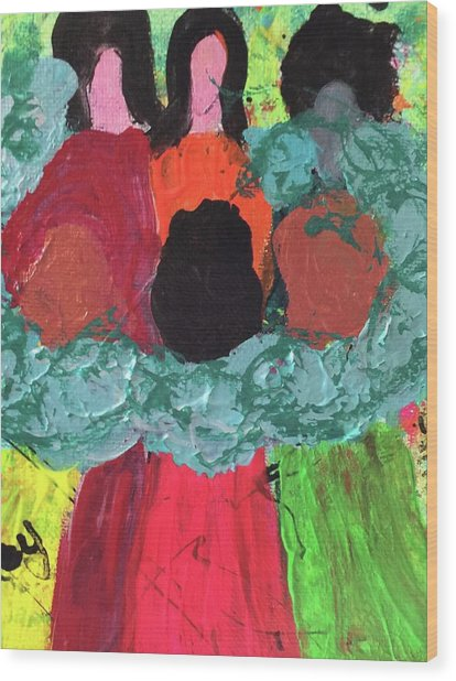 Women Together With Teal Wood Print
