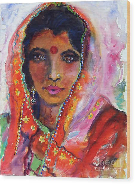 Women With Red Bindi By Ginette Wood Print