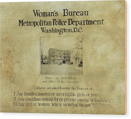 Women's Bureau House Of Detention Poster 1921 Wood Print