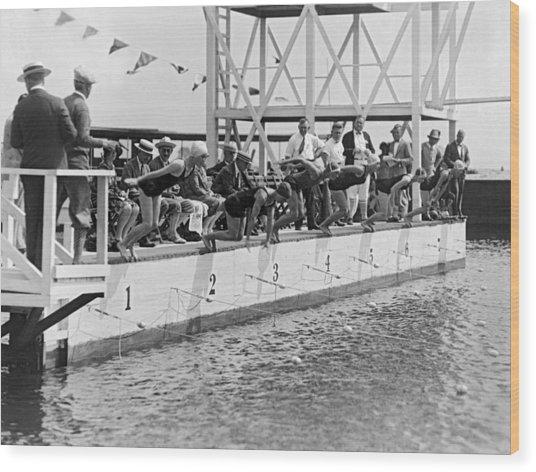 Women's Swimming Championship Wood Print