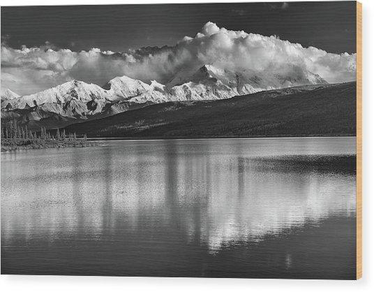 Wonder Lake In Black And White Wood Print
