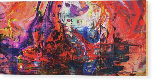 Wonderland - Colorful Abstract Art Painting Wood Print