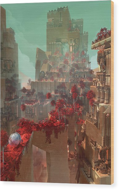 Wonders Hanging Garden Of Babylon Wood Print
