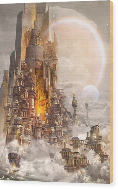 Wonders Tower Of Babylon Wood Print