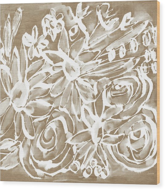 Wood And White Floral- Art By Linda Woods Wood Print