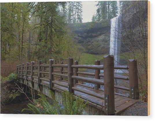 Wood Bridge At Silver Falls State Park Wood Print