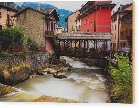 Wood Bridge On The River Wood Print