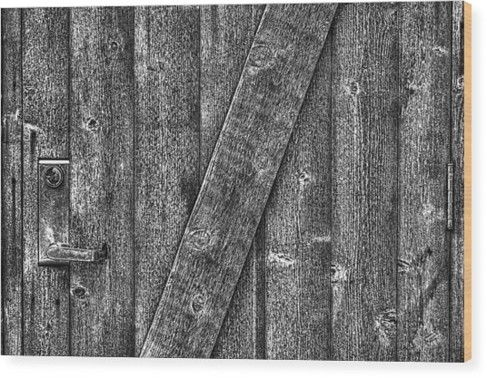 Wood Door With Handle Detail Wood Print