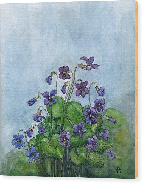 Wood Violets Wood Print