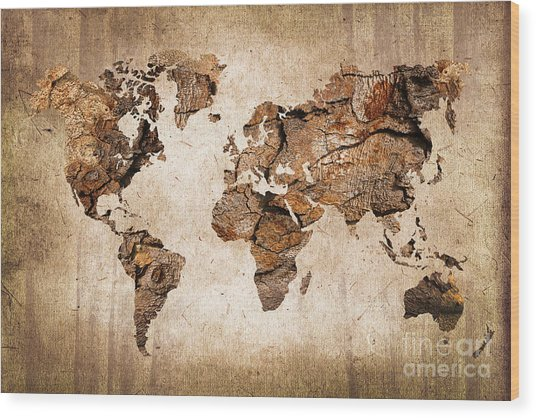 Wood World Map Wood Print