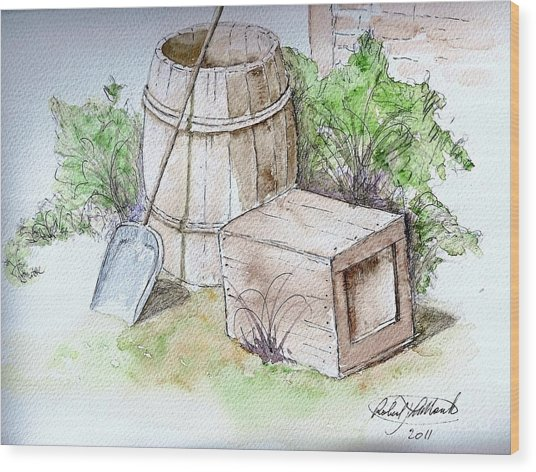 Wooden Barrel And Crate Wood Print