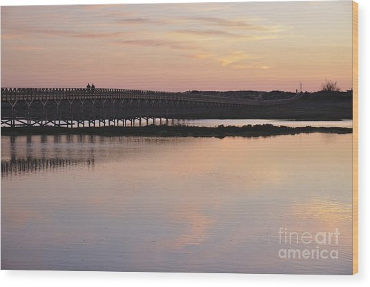 Wooden Bridge And Twilight Wood Print