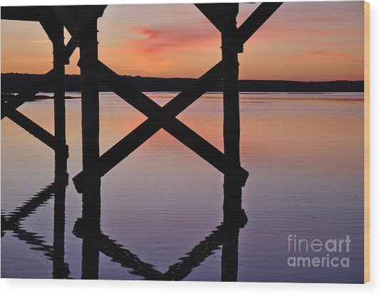 Wooden Bridge Silhouette At Dusk Wood Print