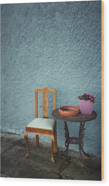 Wooden Chair And Iron Table Wood Print