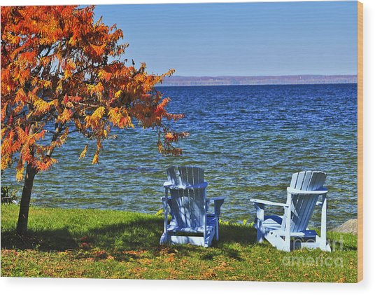 Wooden Chairs On Autumn Lake Wood Print