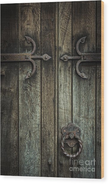 Wooden Church Door Wood Print