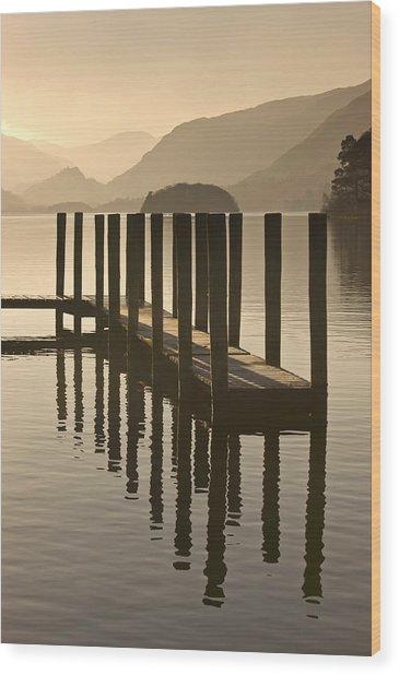 Wooden Dock In The Lake At Sunset Wood Print