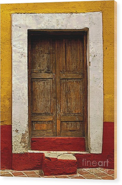 Wooden Door With White Trim Wood Print by Mexicolors Art Photography