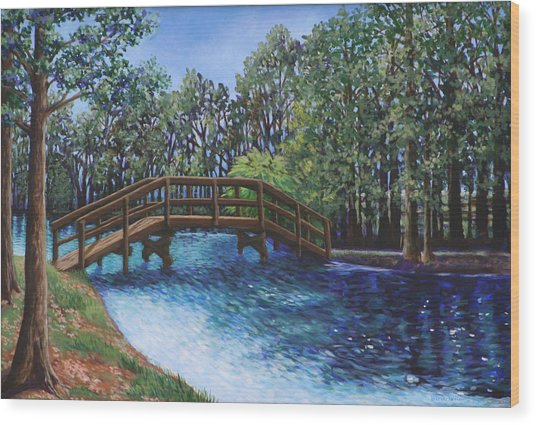 Wooden Foot Bridge At The Park Wood Print