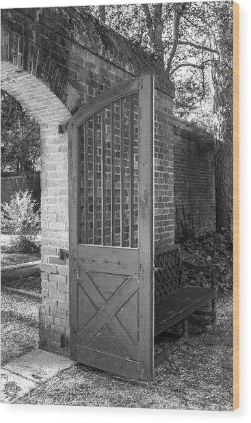 Wooden Garden Door B W Wood Print