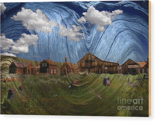 Wooden Ghost Town Wood Print by Ronald Hoggard