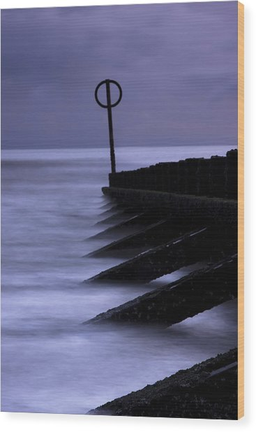 Wooden Groynes Of Aberdeen Scotland Wood Print by Gabor Pozsgai