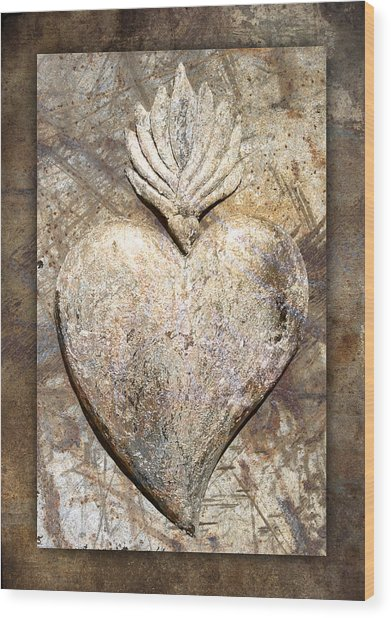 Wooden Heart Wood Print by Carol Leigh