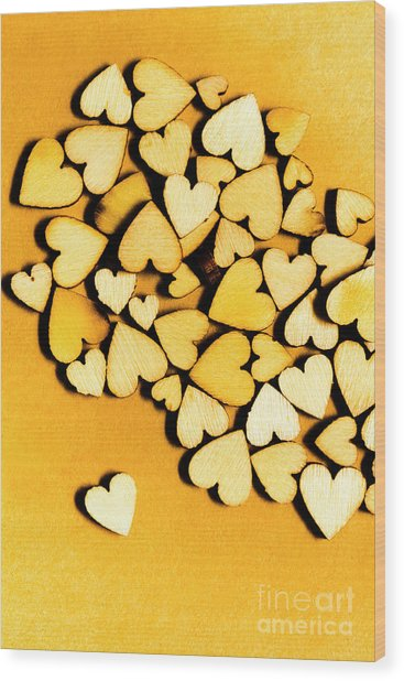 Wooden Hearts With Sentimental Single Wood Print