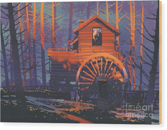 Wood Print featuring the painting Wooden House by Tithi Luadthong