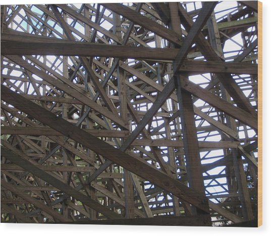 Wooden Rollercoaster Wood Print by Anthony Haight