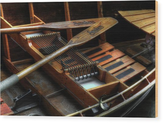 Wooden Rowboat And Oars Wood Print