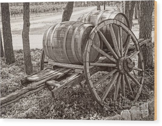 Wooden Wine Barrels On Cart Wood Print