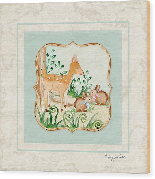 Woodland Fairy Tale - Deer Fawn Baby Bunny Rabbits In Forest Wood Print