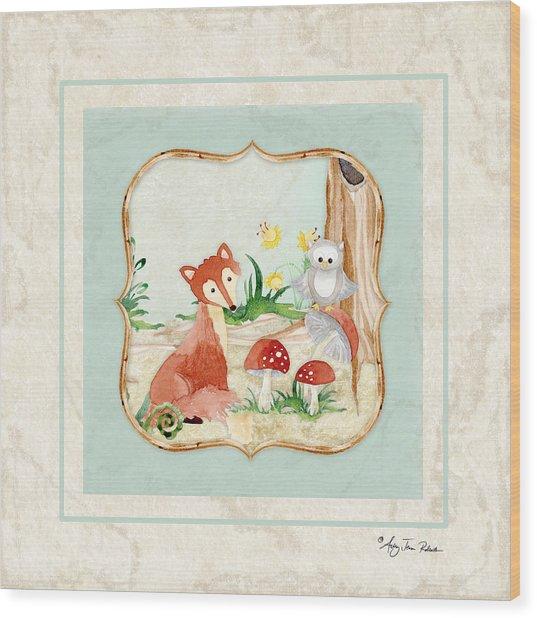 Woodland Fairy Tale - Fox Owl Mushroom Forest Wood Print