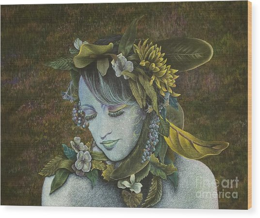 Woodland Nymph Wood Print