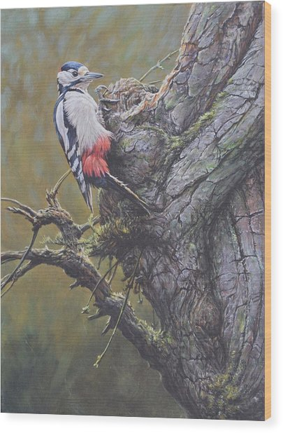 Wood Print featuring the painting Woodpecker On Tree by Alan M Hunt