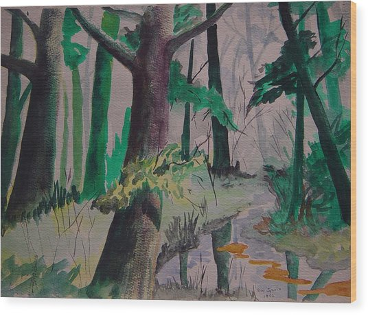 Woods Wood Print by Ron Sylvia