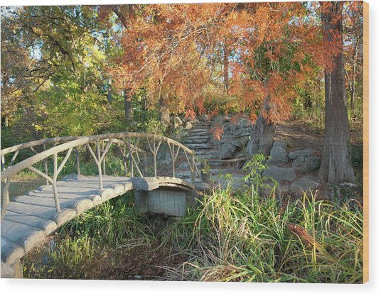 Woodward Park Bridge In Autumn - Tulsa Oklahoma Wood Print