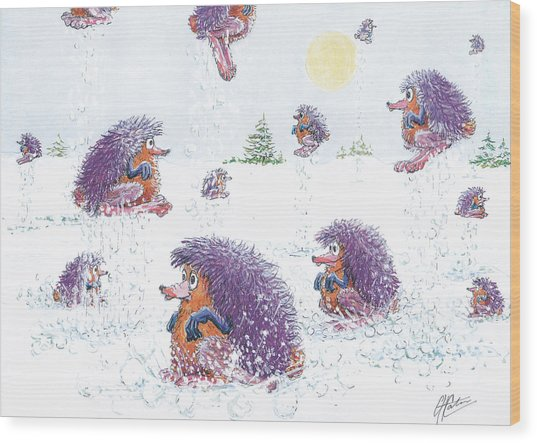 Woolly Snow Hoppers Wood Print