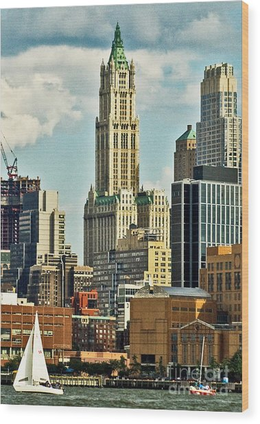 Woolworth Building From Hudson River Wood Print by Allan Einhorn