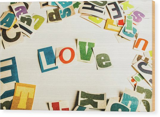 Word Of Love Wood Print
