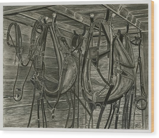 Work Harness Wood Print by Bryan Baumeister